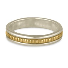 Narrow Bridges Wedding Ring in 14K Gold White  Borders/Yellow Center Design