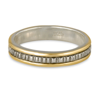 Narrow Bridges Wedding Ring in Sterling Silver Center & Base w 14K Yellow Gold Borders