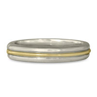 Windsor Wedding Ring in 14K Yellow Gold Center w 14K White Gold Base