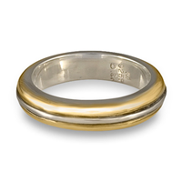 Windsor Wedding Ring in 14K Yellow Gold Design w Sterling Silver Base