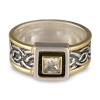 Bordered Laura Engagement Ring with Box Mount in Sterling Silver Center & Base w 14K Yellow Gold Borders
