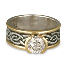 Bordered Laura Engagement Ring in Sterling Silver Center & Base w 14K Yellow Gold Borders