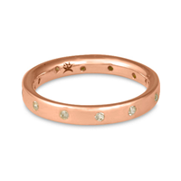 Flat Comfort Fit Wedding Ring 3mm with Gems in 14K Rose Gold