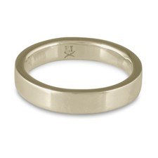 Flat Comfort Fit Wedding Ring 5mm in 18K White Gold