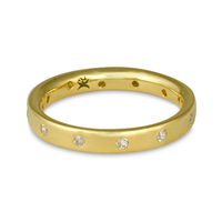 Flat Comfort Fit Wedding Ring 3mm with Gems in 18K Yellow Gold