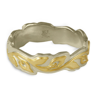Medium Borderless Flores Wedding Ring in 14K White Gold Borders & Base w 18K Yellow Gold Center