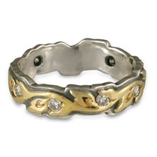 Medium Borderless Flores Wedding Ring with Gems in 18K Yellow Gold Design w Sterling Silver Base