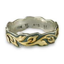 Medium Borderless Flores Wedding Ring in 18K Yellow Gold Design w Sterling Silver Base