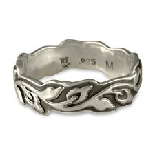 Medium Borderless Flores Wedding Ring in Sterling Silver