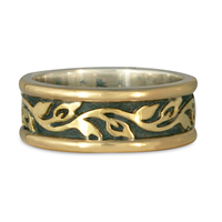 Medium Bordered Flores Wedding Ring in 18K Yellow Gold Borders & Center w Sterling Silver Base