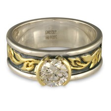 Bordered Flores Engagement Ring in Sterling Borders/18K Yellow Center/Sterling Base