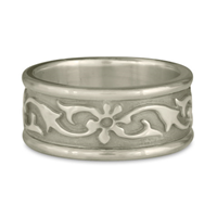 Bordered Persephone Wedding Ring in 14K White Gold