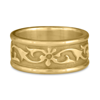 Bordered Persephone Wedding Ring in 14K Yellow Gold