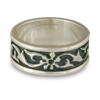 Bordered Persephone Wedding Ring in Sterling Silver