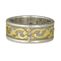 Bordered Persephone Wedding Ring in 14K White Gold Borders & Base w 18K Yellow Gold Center