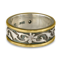 Bordered Persephone Wedding Ring with Gems in Diamond