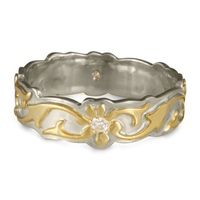 Borderless Persephone Wedding Ring with Gems in 14K White Gold Base w 18K Yellow Gold Center