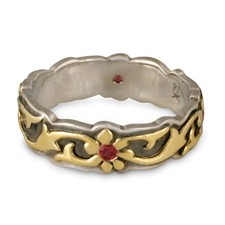 Borderless Persephone Wedding Ring with Gems in 18K Yellow Gold Design w Sterling Silver Base