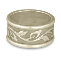 Wide Bordered Flores Wedding Ring in 14K White Gold