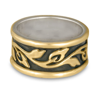 Wide Bordered Flores Wedding Ring in Two Tone