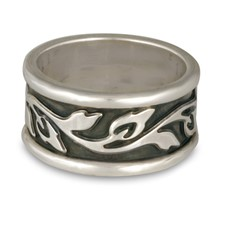 Wide Bordered Flores Wedding Ring in Sterling Silver