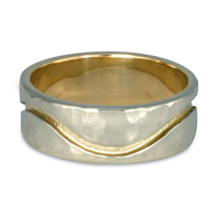 River Wedding Ring 8mm Hammered in 14K White & Yellow Gold Base w 18K Yellow Gold Design