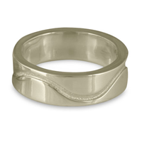 River Gold Wedding Ring 8mm in 14K White Gold