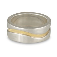 River Wedding Ring 10mm in Sterling Silver Borders & Base w 18K Yellow Gold Center
