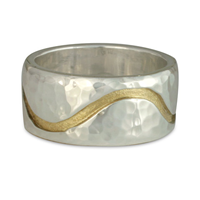 River Wedding Ring 10mm Hammered in 18K Yellow Design/Sterling Base