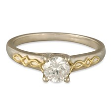 Felicity Solitaire Engagement Ring in 14K White Base with 18K Yellow Design