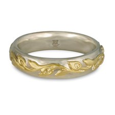 Flores Classic Wedding Ring in 14K White Base with 18K Yellow Design