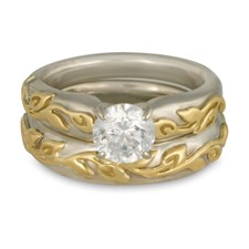 Flores Classic Bridal Ring Set in 14K White Gold Base w 18K Yellow Gold Center