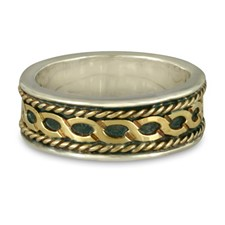 Rope Twist Wedding Ring in Sterling Silver Borders & Base w 18K Yellow Gold Center