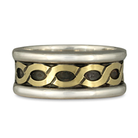 Wide Rope Ring in Sterling Borders/18K Yellow Center/Sterling Base