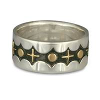 Moon and Stars Ring in 14K Yellow Gold Design w Sterling Silver Base