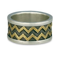 Zig Zag Ring in Sterling Silver Borders & Base w 18K Yellow Gold Center