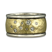 Wistra Ring with Diamonds in Sterling Silver Borders & Base w 18K Yellow Gold Center