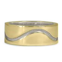 River Wedding Ring 8MM in 14K Yellow Gold Design w Sterling Silver Base