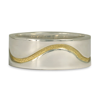 River Wedding Ring 8MM in 18K Yellow Gold Design w Sterling Silver Base