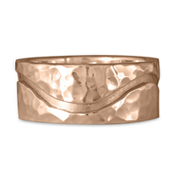 River Gold Wedding Ring 10mm Hammered  in 14K Rose Gold