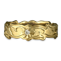 Borderless Persephone Wedding Ring with Gems in 14K Yellow Gold