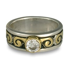 Bordered Ravena Engagement Ring in Sterling Silver Borders & Base w 18K Yellow Gold Center