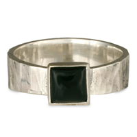 Hammered square ring in Sterling Silver