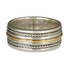 Windsor Twist Ring in Sterling Silver Borders & Base w 18K Yellow Gold Center