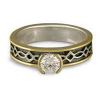 Bordered Felicity Engagement Ring in Sterling Silver Center & Base w 18K Yellow Gold Borders