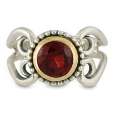 Passion Flower Ring in Garnet