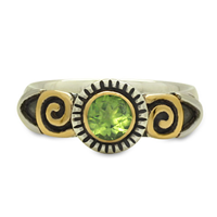 Medina Ring in 14K Yellow Gold Design w Sterling Silver Base