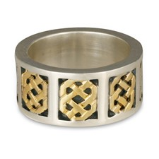 Tripoli Wedding Ring in 18K Yellow Gold Design w Sterling Silver Base