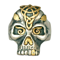 Morgan s Skull Ring in 14K Yellow Gold Design w Sterling Silver Base