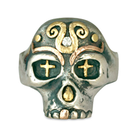 Eva s Skull Ring in 14K Yellow Gold Design w Sterling Silver Base